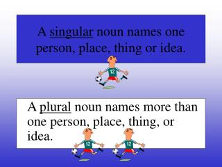 A  singular  noun names one person, place, thing or idea.