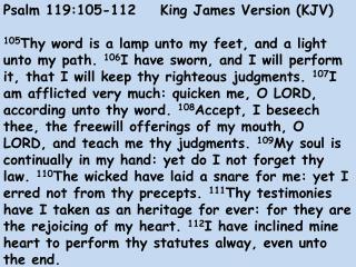 Psalm 119:105-112    King James Version (KJV)