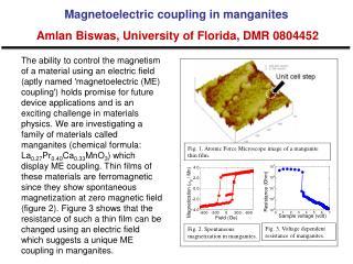 Magnetoelectric coupling in manganites Amlan Biswas, University of Florida, DMR 0804452