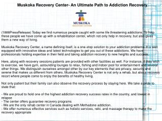 Muskoka Recovery Center- An Ultimate Path to Addiction Recov