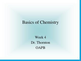 Basics of Chemistry
