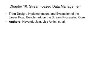 Chapter 10: Stream-based Data Management