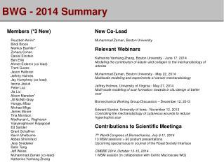 BWG - 2014 Summary