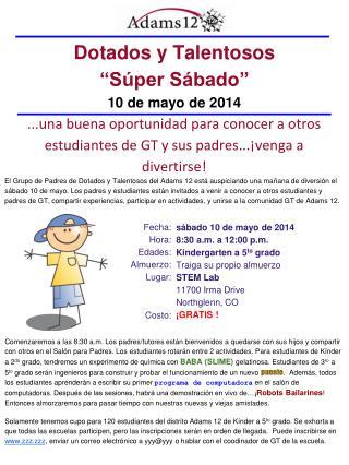 """Dotados y Talentosos """" Súper Sábado"""" 10 de mayo de 2014"""