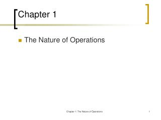 Chapter 1 Nature of Operations