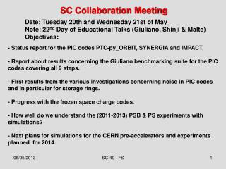 SC Collaboration Meeting