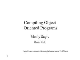 Compiling Object  Oriented Programs