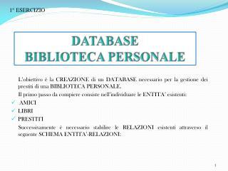 DATABASE  BIBLIOTECA PERSONALE