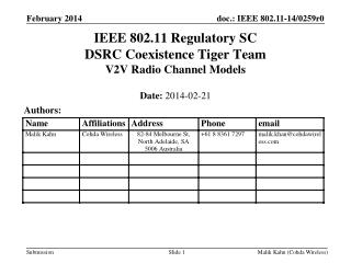 IEEE 802.11 Regulatory SC DSRC Coexistence Tiger Team V2V Radio Channel Models