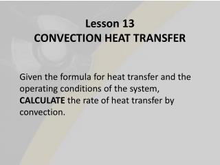 Lesson 13  CONVECTION HEAT TRANSFER