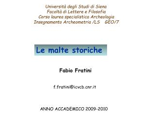 Università degli Studi di Siena Facoltà di Lettere e Filosofia