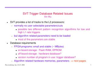 SVT Trigger Database Related Issues Xin Wu