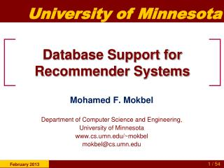Database Support for Recommender Systems