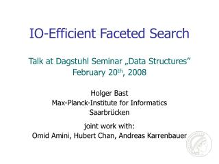IO-Efficient Faceted Search