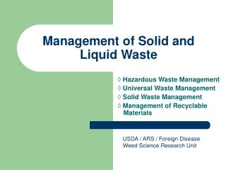 Management of Solid and Liquid Waste