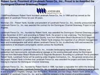 Robert Yanik, President of Landmark Fence Co., Inc., Proud t