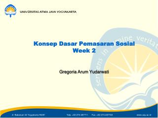 Konsep Dasar Pemasaran Sosial Week 2