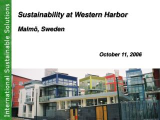 Sustainability at Western Harbor Malmö, Sweden