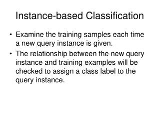 Instance-based Classification