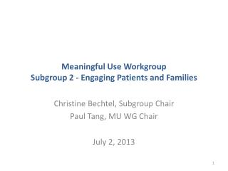 Meaningful Use Workgroup Subgroup  2 - Engaging Patients and Families