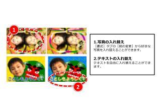 1. 写真の入れ替え [書式]タブの[図の変更]から好きな写真を入れ替えることができます。 2. テキストの入れ替え テキストを自由に入れ替えることができます。