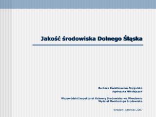 Jakość środowiska Dolnego Śląska