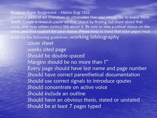 Research Paper Assignment – Malvo Engl 1302