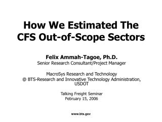 How We Estimated The CFS Out-of-Scope Sectors