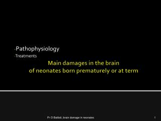 Main damages in the  brain of  neonates born prematurely  or  at term