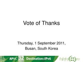 Vote of Thanks