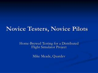Novice Testers, Novice Pilots