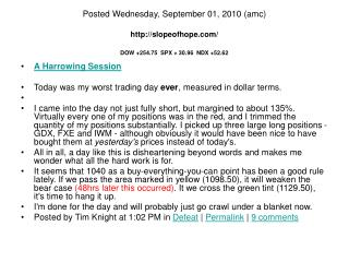 A Harrowing Session Today was my worst trading day  ever , measured in dollar terms.