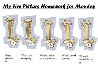 My Five Pillars Homework for Monday
