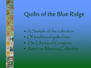 Quilts of the Blue Ridge