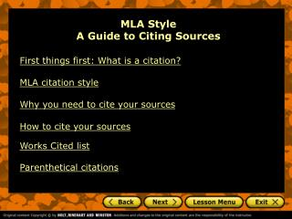 MLA Style A Guide to Citing Sources