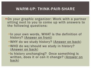 Warm-up: Think-Pair-Share