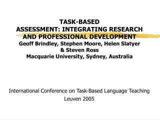 International Conference on Task-Based Language Teaching Leuven 2005