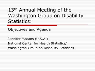 13 th  Annual Meeting of the Washington Group on Disability Statistics:
