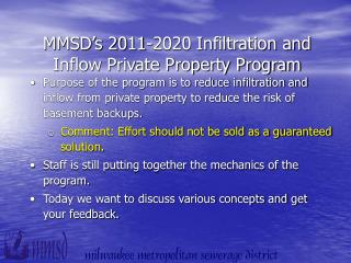 MMSD's 2011-2020 Infiltration and Inflow Private Property Program