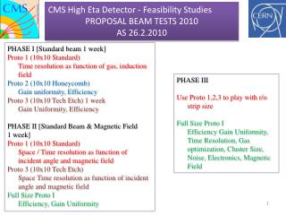 CMS High  Eta  Detector -  Feasibility Studies PROPOSAL BEAM  TESTS  2010  AS 26.2.2010