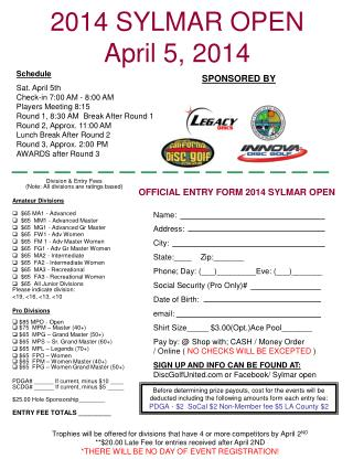 2014 SYLMAR OPEN April 5, 2014