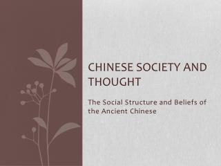 Chinese Society and Thought