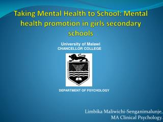 Taking Mental Health to School: Mental health promotion in girls secondary schools