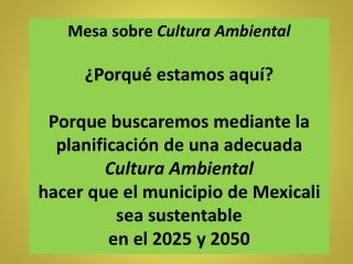 Mesa sobre  Cultura Ambiental ¿Porqué estamos aquí?