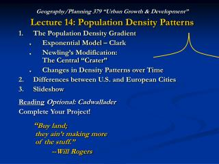 "Geography/Planning 379 ""Urban Growth & Development"" Lecture 14: Population Density Patterns"
