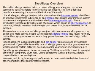 Eye Allergy Overview