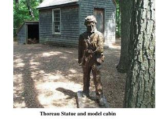 Thoreau Statue and model cabin