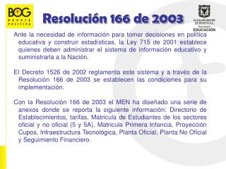 Resoluci�n 166 de 2003