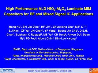 High Performance ALD HfO 2 -Al 2 O 3  Laminate MIM