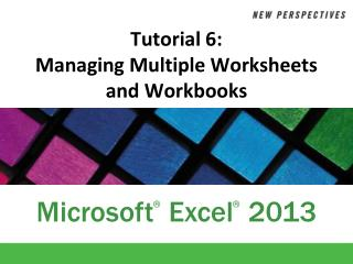 Tutorial 6:  Managing Multiple Worksheets and Workbooks